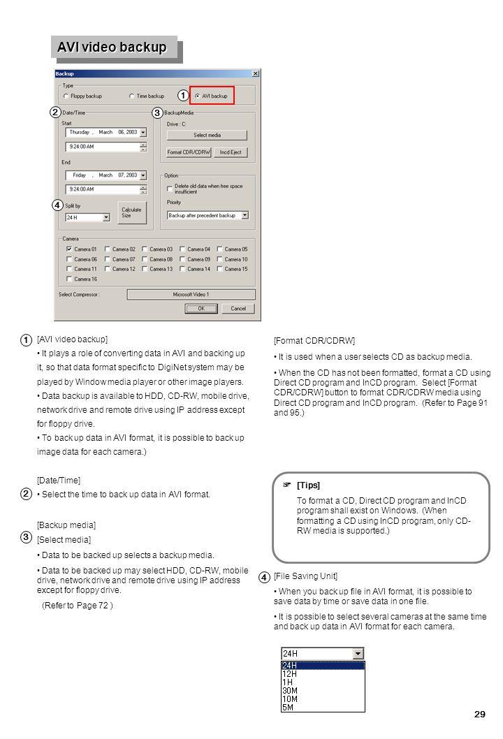 AVI video backup 추가 1 2 3 4 1 ☞ 2 3 4 [AVI video backup]